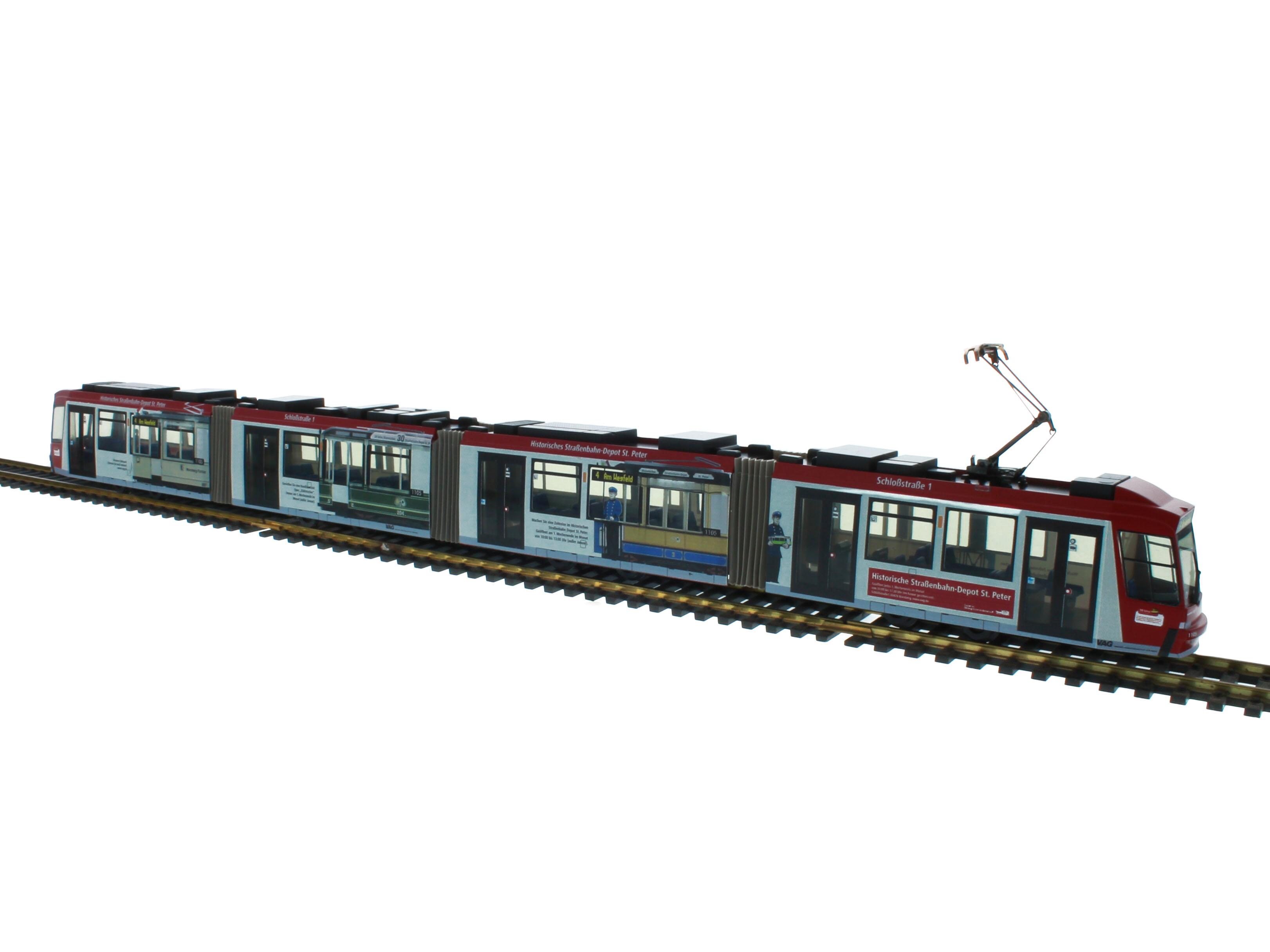 Adtranz Stra&szlig;enbahn 1:87 H0<p><p>  Abmessungen der Modelle: Breite: 2,8 cm, H&ouml;he: 4 cm, L&auml;nge: Gt 4 21 cm, Gt 6 31 cm, Gt 8 41 cm.